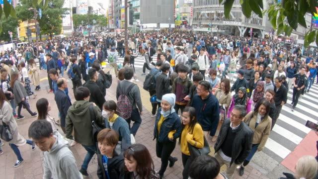 vídeos de stock, filmes e b-roll de cruzamento de shibuya com grande grupo de pessoas - encruzilhada