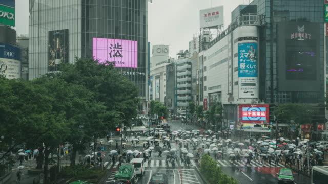 時間の経過を雨の中街交差点渋谷群集 - overcast点の映像素材/bロール