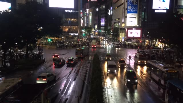 Shibuya district at rainy night with crowd passing crosswalk. Tokyo, Japan. Timelapse