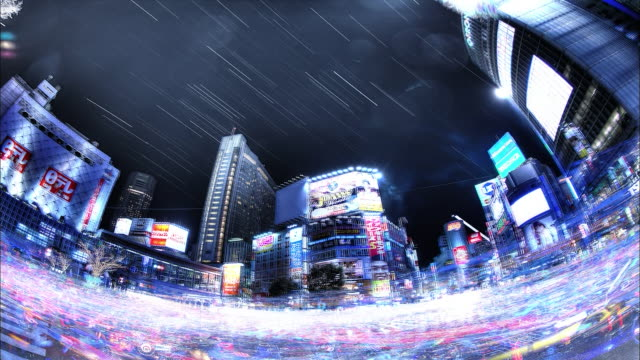 shibuya; scramble crosswalk; passersby and running cars; the star trajectory; night view: sfx; fish-eye shot; time lapse. - 広角撮影点の映像素材/bロール