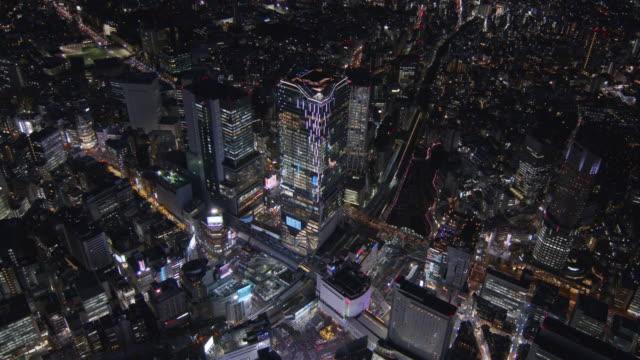 shibuya scramble square night view aerial,tokyo,japan - shibuya ward stock videos & royalty-free footage