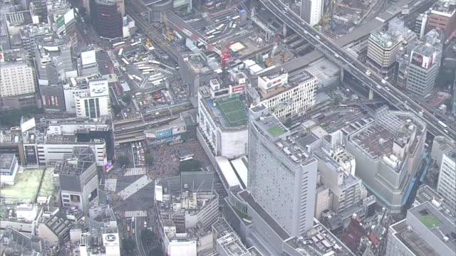 aerial, shibuya station under construction, tokyo, japan - shibuya station stock videos and b-roll footage
