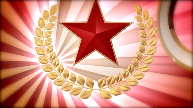 shield with laurel wreath and red star - laurel maryland stock videos & royalty-free footage