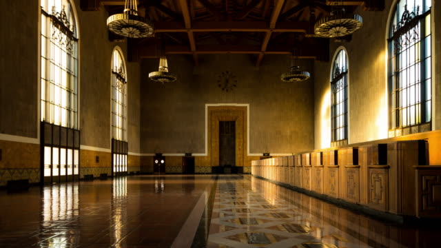 shifting light in los angeles union station ticket hall - time lapse - union station los angeles stock videos & royalty-free footage