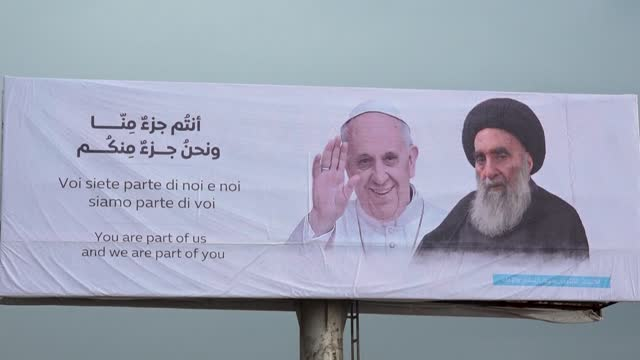 """shiite cleric in the holy city of najaf says the pope's historic visit will push iraq to """"take more care of its people - najaf stock videos & royalty-free footage"""