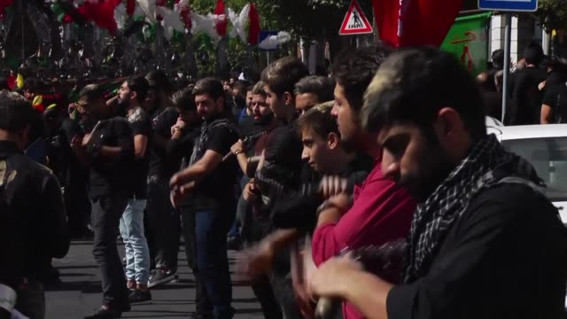 shiites in iran marked the annual ashura commemorations weeping and beating their chests in mourning for the seventh century killing of imam hussein... - imam hussein stock videos and b-roll footage