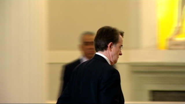 stockvideo's en b-roll-footage met shimon peres speech at mansion house peres leaves podium and shakes hands with luder audience applauding side view peter mandelson mandelson to... - peter mandelson