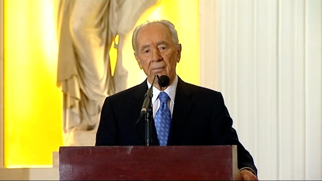 shimon peres speech at mansion house shimon peres speech continued sot we are advanced in agriculture irrigation attach computer to every tree and... - ethik und moral stock-videos und b-roll-filmmaterial