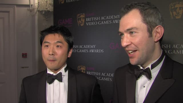shin kanaoya and jim horth on winning on how to start with kinect on wow factor at the game british academy video games awards 2011 at london england - xbox stock videos & royalty-free footage