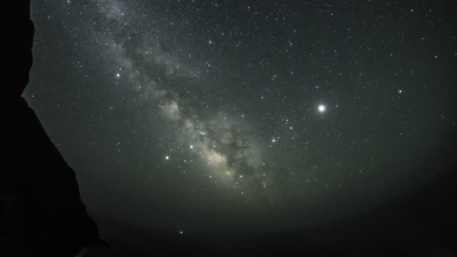shining galaxy/ milky way rising from the sea horizon - meteor weltall stock-videos und b-roll-filmmaterial