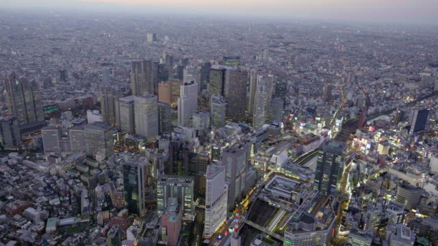 Shinjuku Aerial view from Helicopter at dusk
