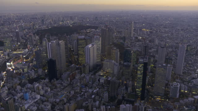 shinjuku buildings aerial at dusk - 高層ビル点の映像素材/bロール