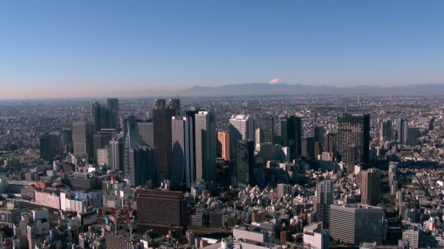 Shinjuku Buildings and Mt Fuji Aerial