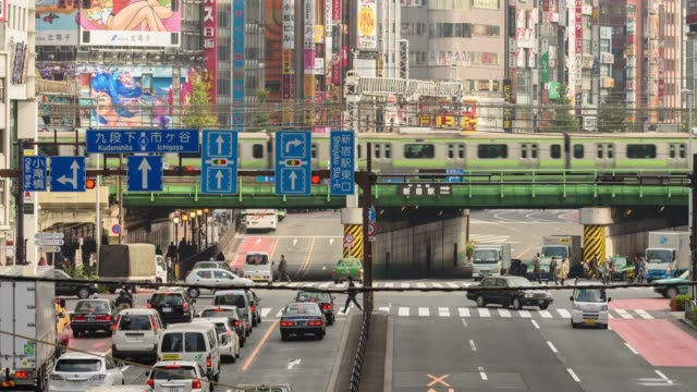 Shinjuku cross time-lapse,Travel location in Tokyo Japan with train in the city