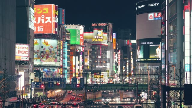新宿ラッシュアワー (東京) - ネオンサイン点の映像素材/bロール