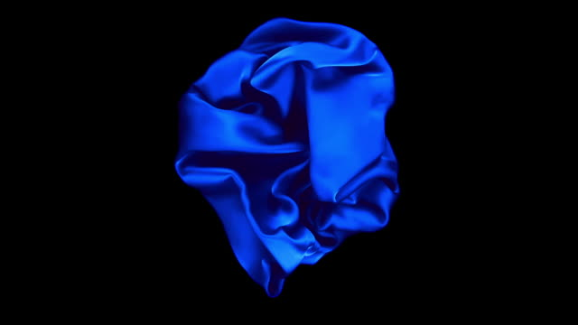 shiny blue crumpled silky fabric flowing around on the center of the frame in super slow motion, black background. - shape stock videos & royalty-free footage