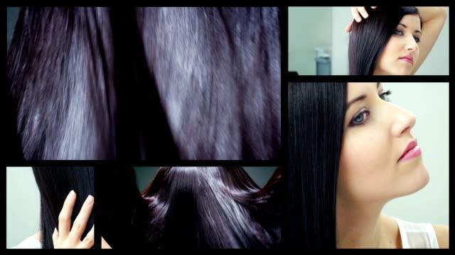 Shiny dark brown hair split screen