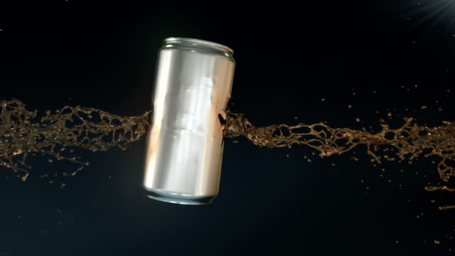 shiny metal can of beer shot through by a bullet in slow motion. 3d rendering. 4k, ultra hd resolution. - shooting a weapon stock videos & royalty-free footage