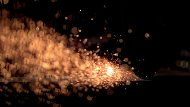 SLO MO Shiny metal sparks flying around at night