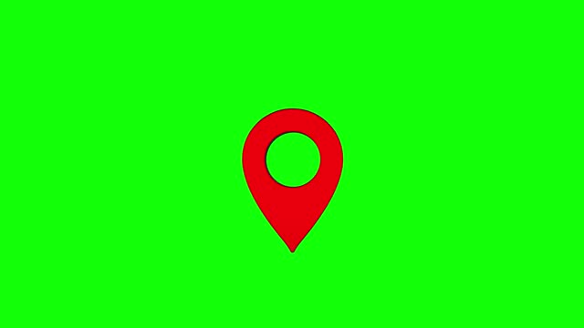 shiny red realistic map pin. vector 3d pointers isolated on green background. location symbol, map marker green screen shadow loop red, 4k resolution. - directional sign stock videos & royalty-free footage