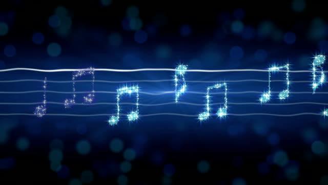 Shiny silver music notes moving on sheet, New Year celebration, karaoke song
