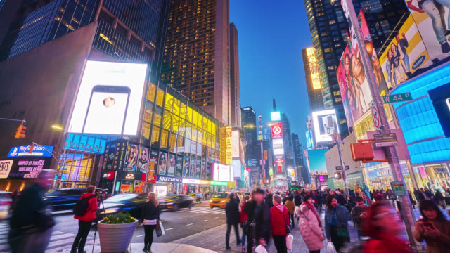 shiny times square. crowd. tourist attraction - editorial stock videos & royalty-free footage