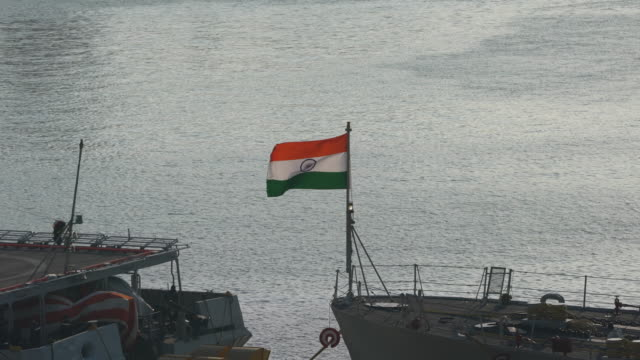 ship, aircraft carrier docked in mumbai - armed forces stock videos & royalty-free footage