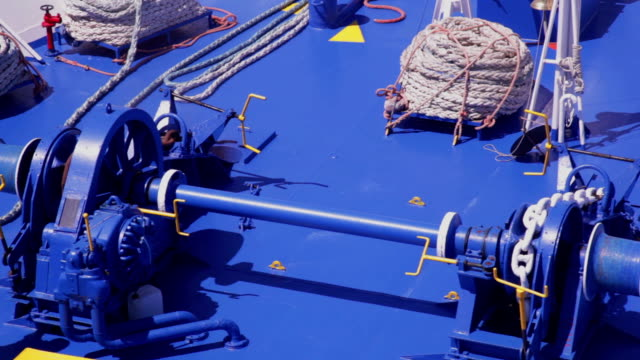 ship anchor lifting system - pulley stock videos & royalty-free footage