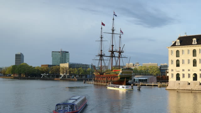 voc ship and national maritime museum, amsterdam, netherlands, europe - holland stock videos and b-roll footage