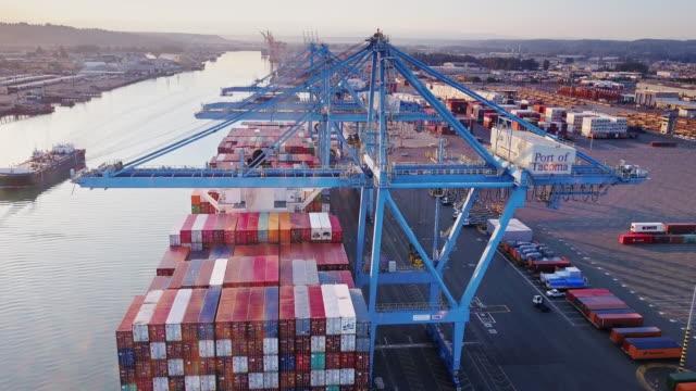Ship Awaiting Unloading at Port of Tacoma
