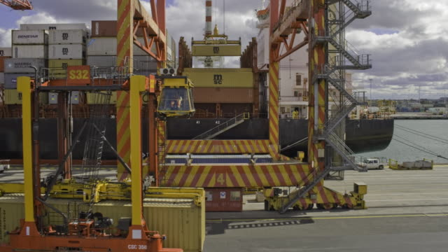 ship being loaded with containers - container stock videos & royalty-free footage