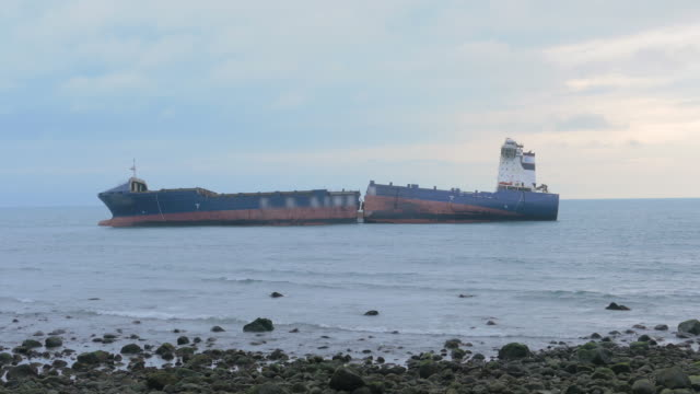 ship broken by srong typhoon, new taipei, taiwan - stranded stock videos and b-roll footage