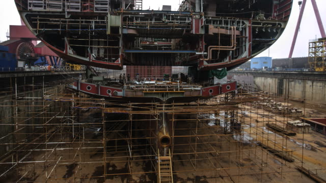 ship building in china - schiffswerft stock-videos und b-roll-filmmaterial