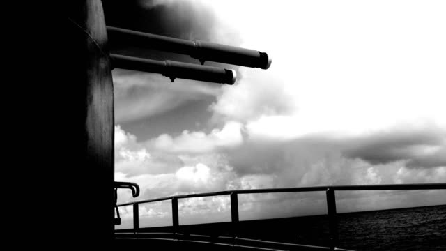 ship cannon against a cloudy sky - black and white - aboard stock videos & royalty-free footage