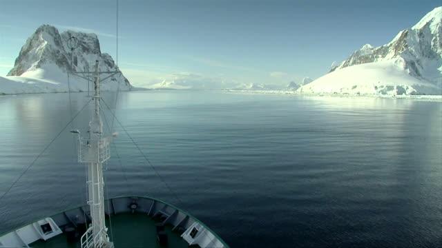 ship cruises through antarctica