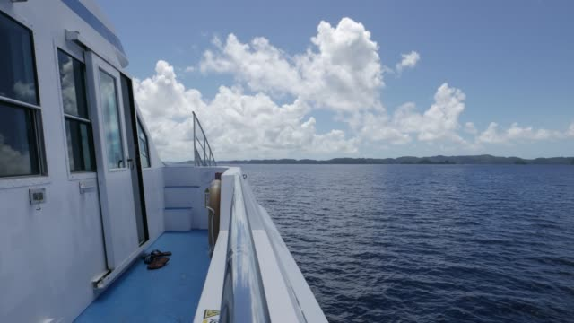 ship cruising on open sea in palau - passenger ship stock videos & royalty-free footage