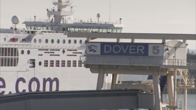 A ship docks in the Port of Dover.