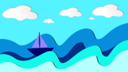 ship going through the waves animation, paper backgrounds