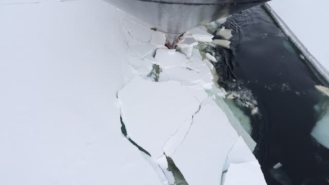 vídeos de stock e filmes b-roll de ship hull breaking through ice in antarctica, viewed from the ship bow - 30 segundos ou mais