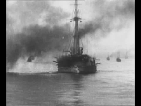 ship in black sea with smoke exuding behind during world war i battle between turkey and russia in the dardanelles campaign / turkish battleship... - turkey middle east stock videos & royalty-free footage