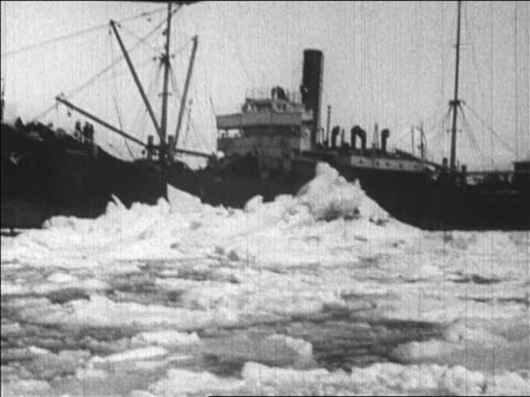 b/w 1926 ship in icy waters carrying crew for byrd's flight over the north pole / newsreel - carrying pole stock videos & royalty-free footage