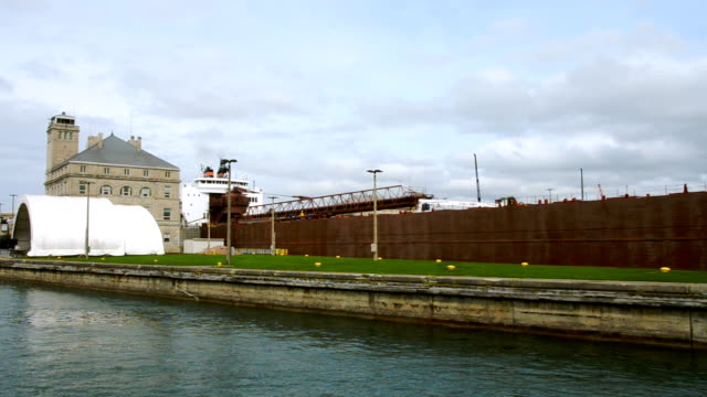 ship in soo locks - iron ore stock videos & royalty-free footage