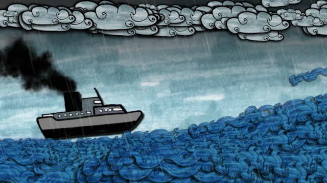 Schiff in stürmischen Wetterbedingungen