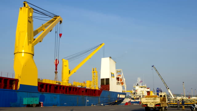 ship industry loading container at port - crane stock videos & royalty-free footage