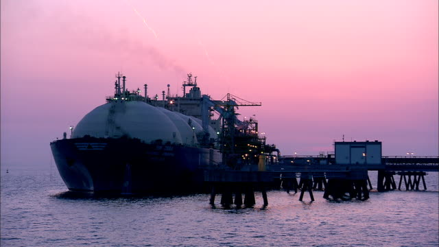 ws t/l lng ship is docking at wharf / kyungsangnamdo, south korea - industrial sailing craft stock videos & royalty-free footage