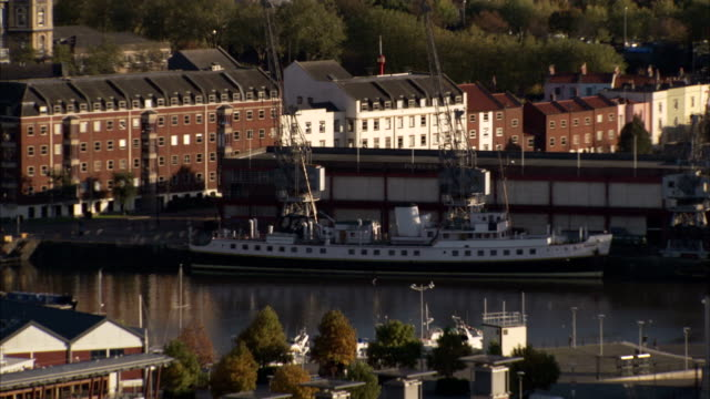 A ship moored in Bristol docks. Available in HD.
