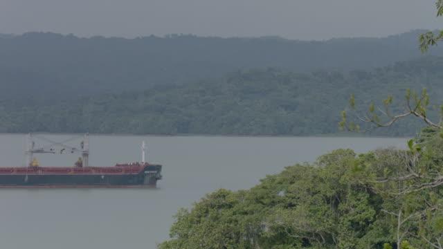 vídeos y material grabado en eventos de stock de ws ship moving in panama canal with rainforest / panamá province, panama - estrecho