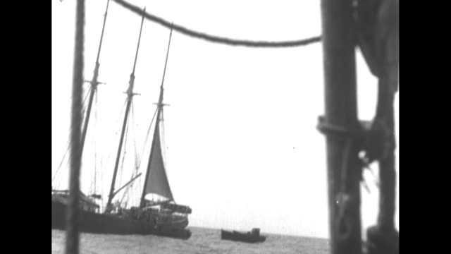 vidéos et rushes de ship on choppy seas seen through rigging of another / freighter / schooner on water in bg rigging in fg / small boats near ship other ship's... - océan atlantique