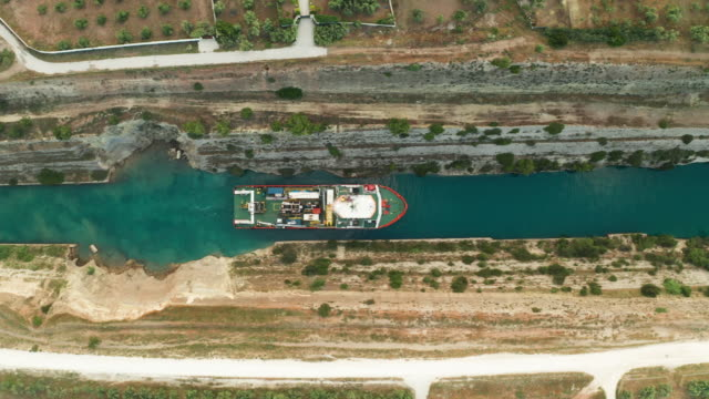 ship passing through corinth canal in greece - sea channel stock videos & royalty-free footage