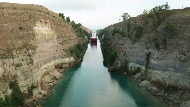 ship passing through corinth canal in greece - canal stock videos & royalty-free footage